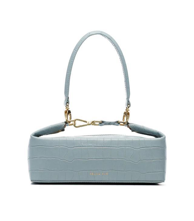 Rejina Pyo Blue Olivia Crocodile Embossed Leather Box Bag