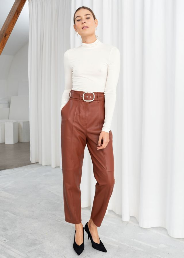 & Other Stories Belted Leather Pants