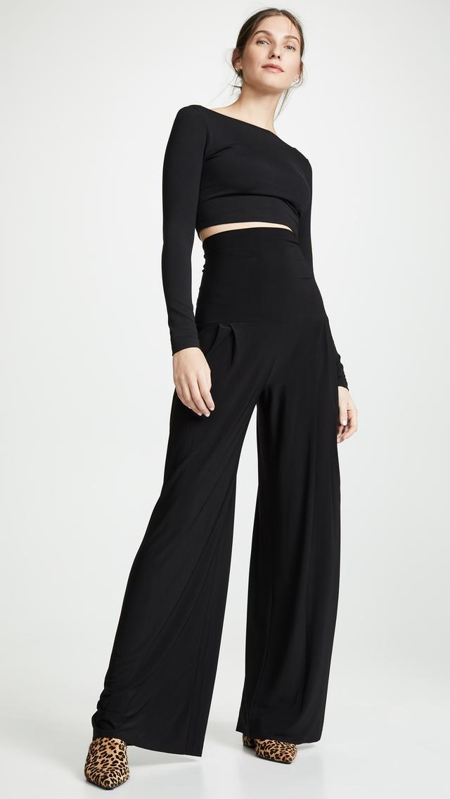 Norma Kamali High-Waist Pleat Pants