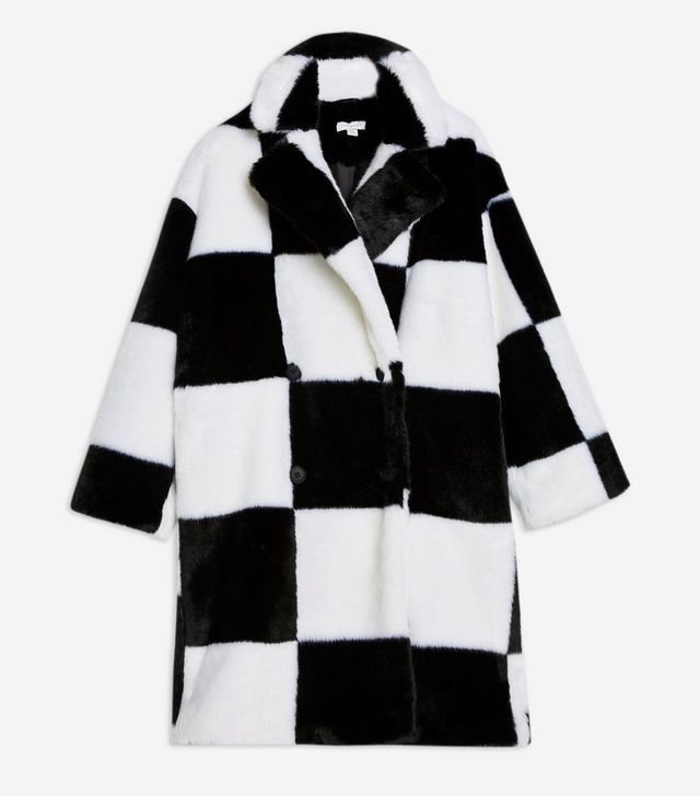 Topshop Checkerboard Faux Fur Coat