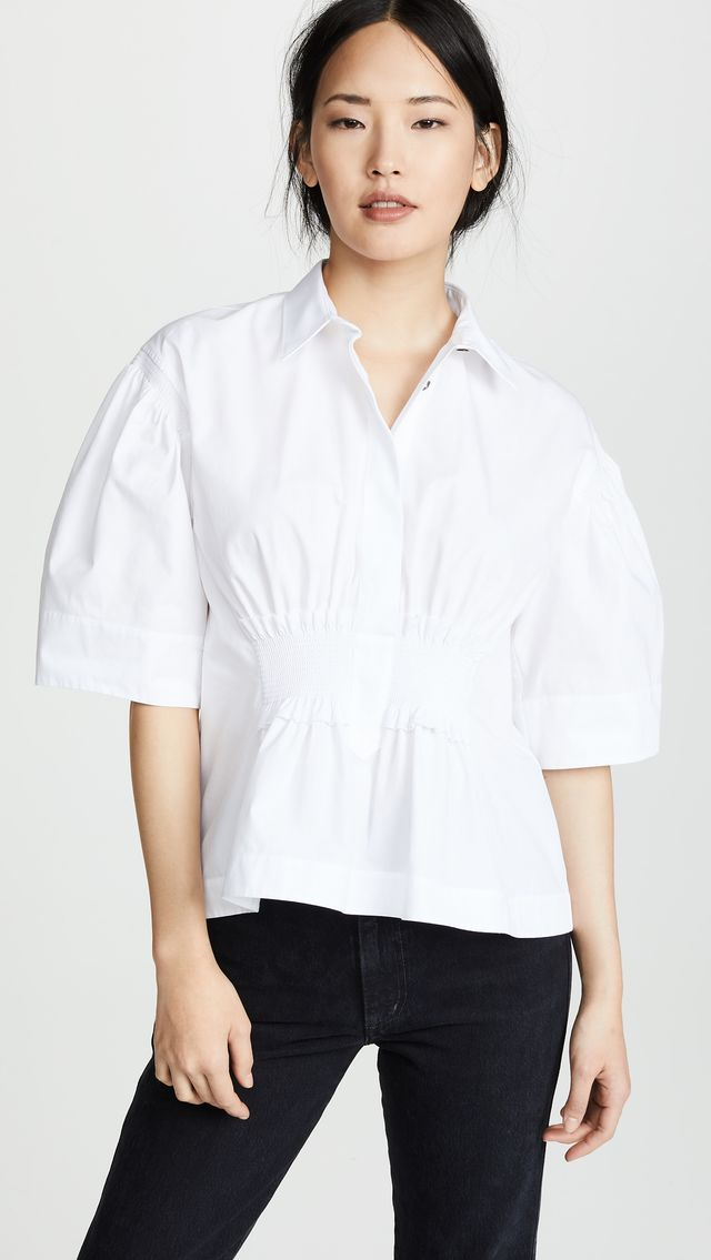 Cedric Charlier Cinched Waist Collared Shirt