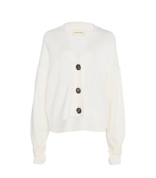 Loulou Studio Tiberine V-Neck Button-Front Cardigan