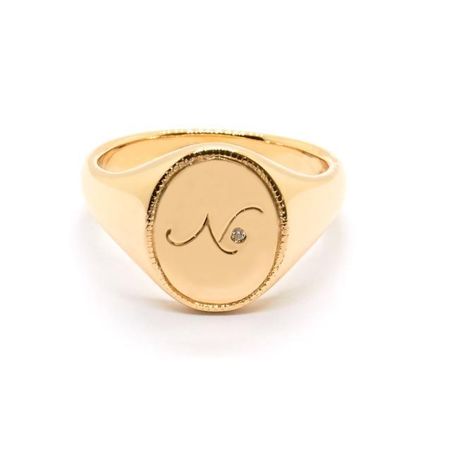 Natalie Marie Diamond Initial Signet Ring