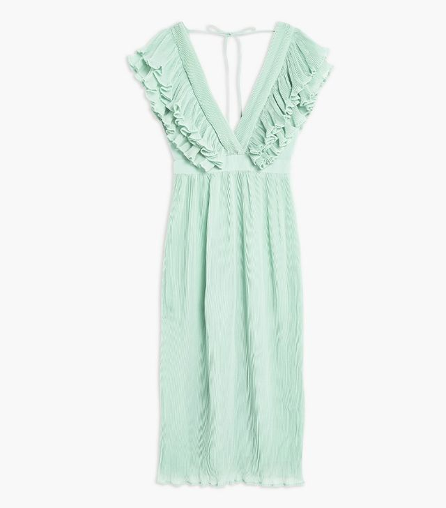 Topshop Ruffle Pleated Midi Dress