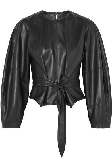 Nanushka Corsa Tie-Detailed Vegan Faux Leather Blouse