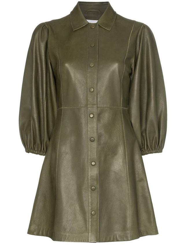 Ganni Meranti Puffed Sleeve Button Down Leather Dress