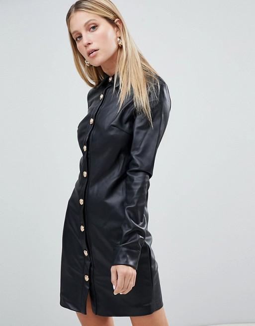 Forever Unique Faux Leather Shirt Dress
