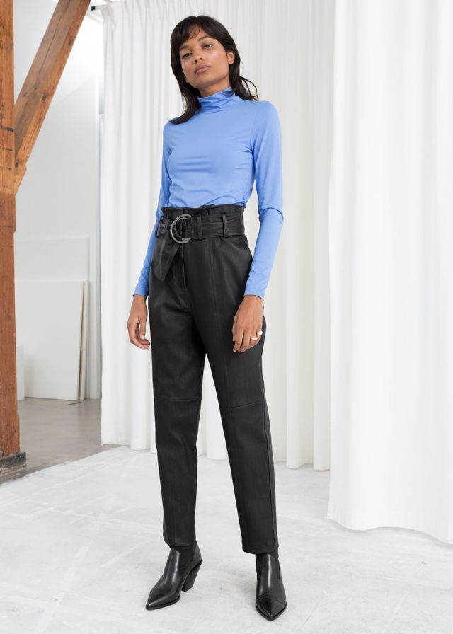 & Other Stories Paperbag Waist Leather Pants