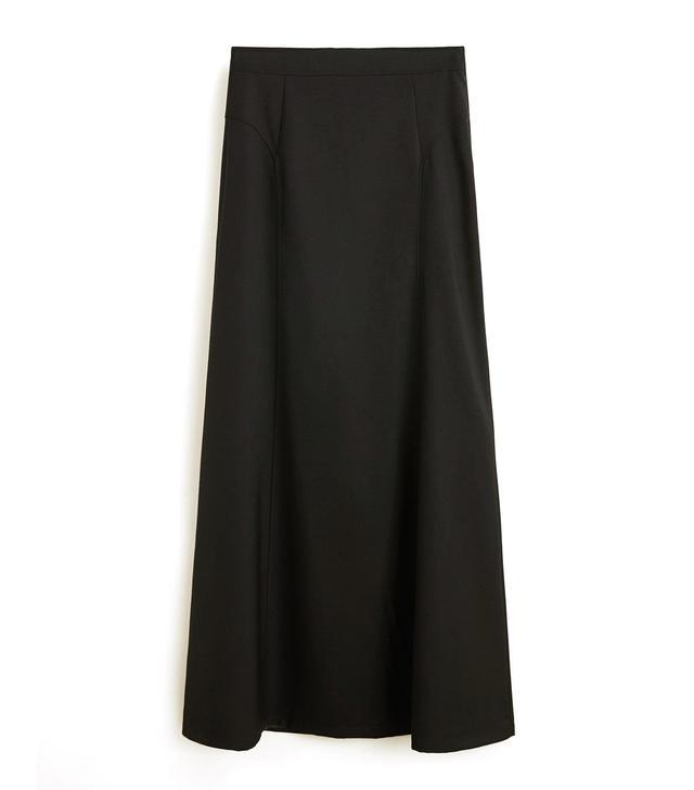 Mango Pleat Detail Long Skirt