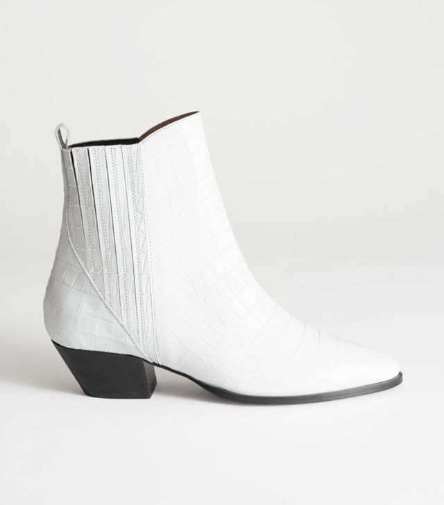 & Other Stories Croc Embossed Low Cowboy Boots