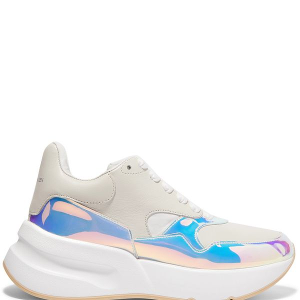 Alexander McQueen Smooth and Iridescent Leather Exaggerated-Sole Sneakers