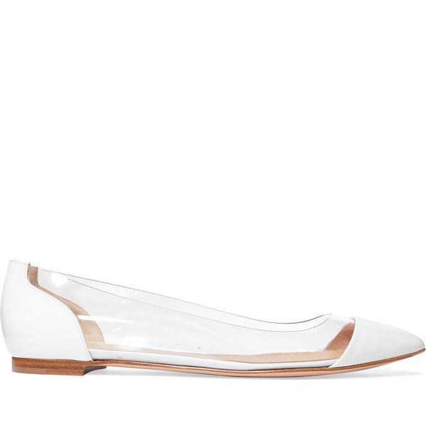 Gianvitto Rossi Plexi Patent-Leather and PVC Point-Toe Flats