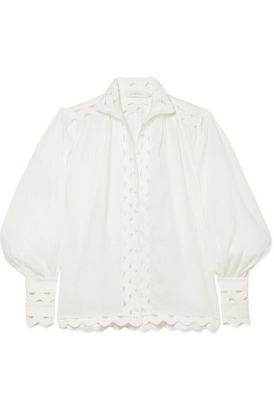 Zimmerman Ninety-Six Wave Rickrack-Trimmed Ramie and Linen Blouse