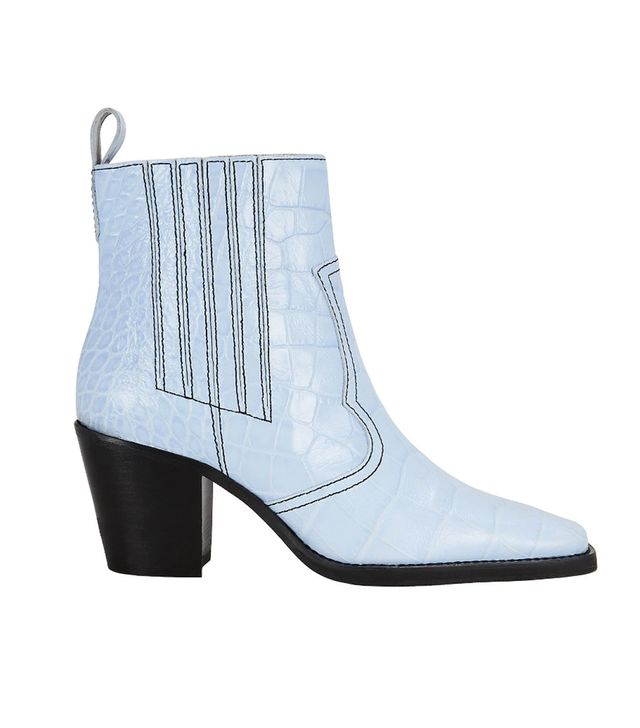 Ganni Western Croc-Embossed Sky Blue Boots