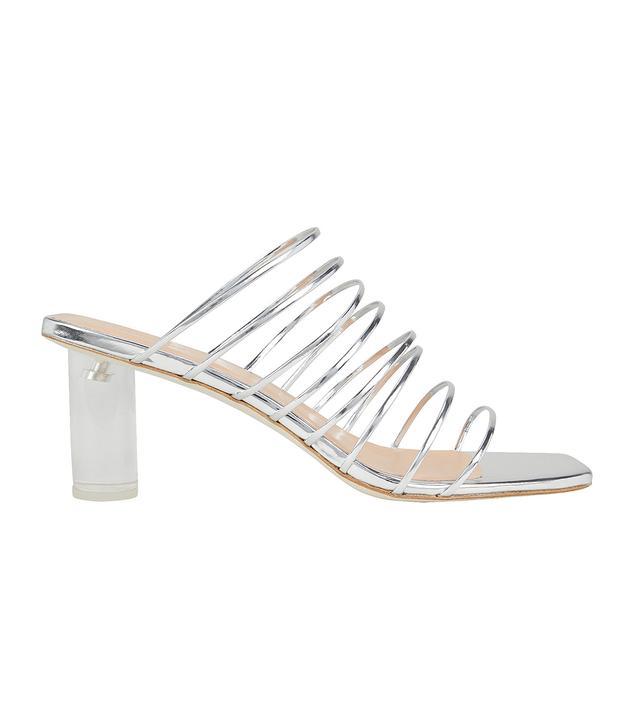 Rejina Pyo Zoe Lucite Heel Strappy Silver Sandals