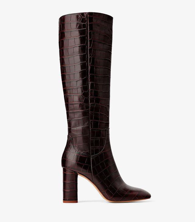 Zara Animal Print Heeled Leather Boots