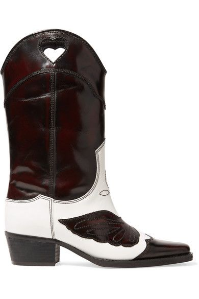Ganni Two-Tone Embroidered Leather Cowboy Boots