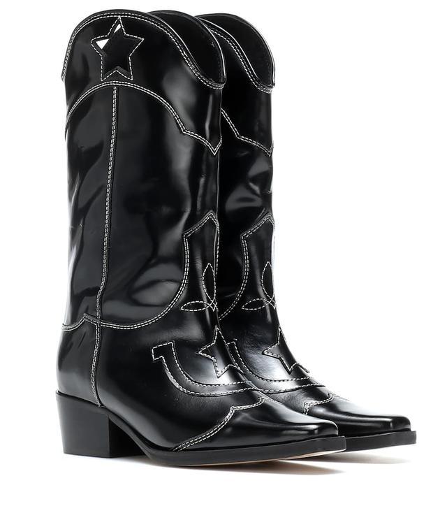 Ganni High Texas Leather Cowboy Boots