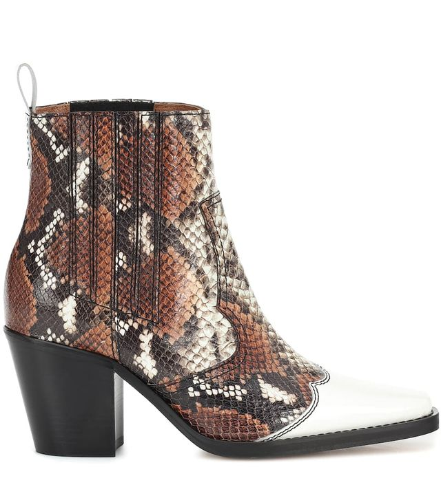 Ganni Western Mix Leather Ankle Boots