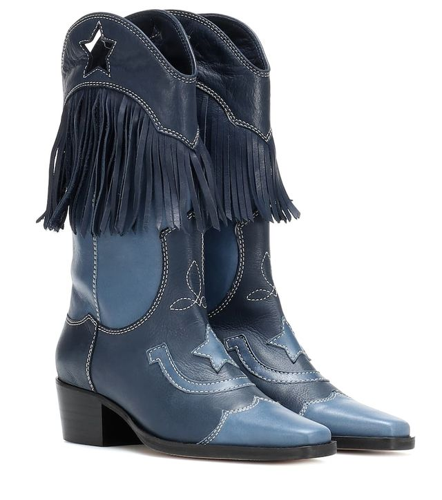 Ganni Texas Fringe Leather Cowboy Boots