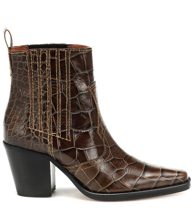 Ganni Callie Croc-Embossed Leather Ankle Boots