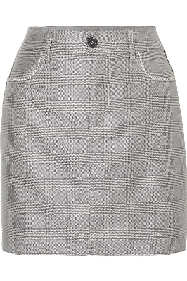 Ganni Crystal-Embellished Checked Silk and Wool-Blend Mini Skirt