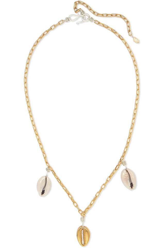 Wald Berlin How Hi Gold-Plated Shell Necklace