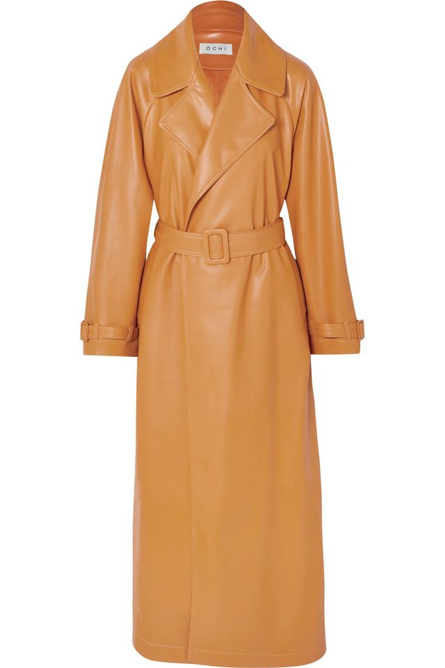 Ochi Belted Faux Leather Trench Coat