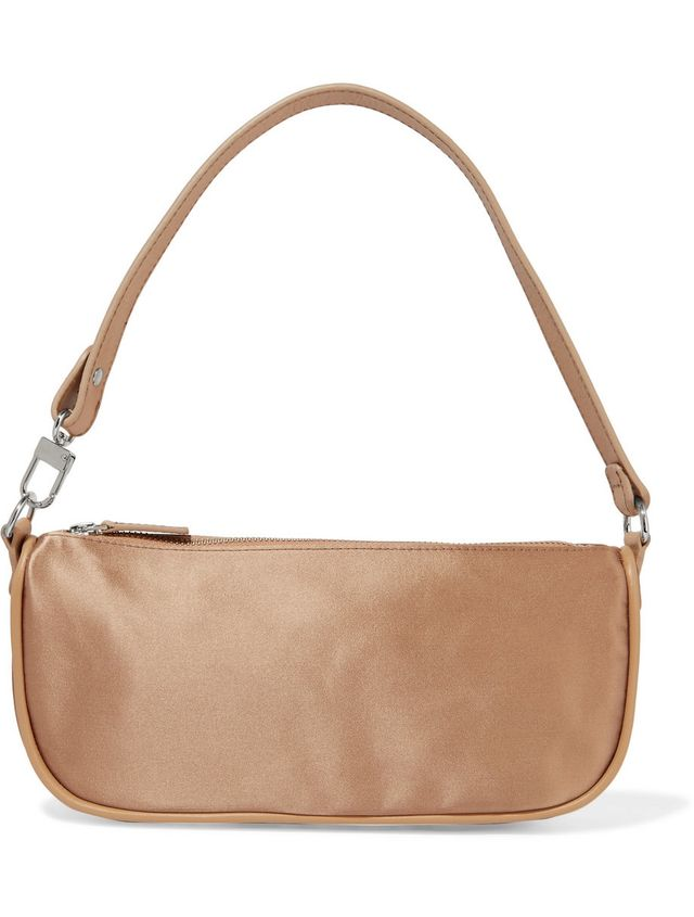 By Far Rachel Leather-Trimmed Silk-Satin Shoulder Bag