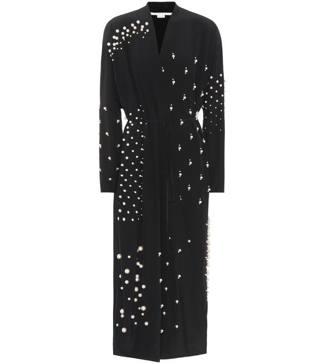 Stella McCartney Faux Pearl-Embellished Silk Dress