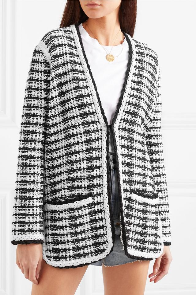 Maje J Striped Cotton-Blend Cardigan