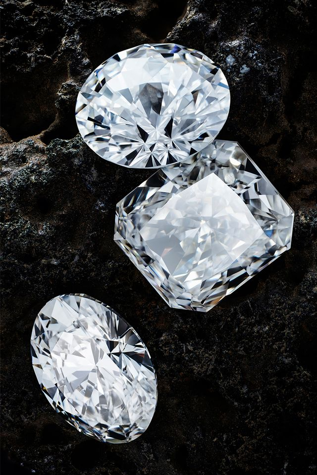 Photos of lab-grown diamonds.