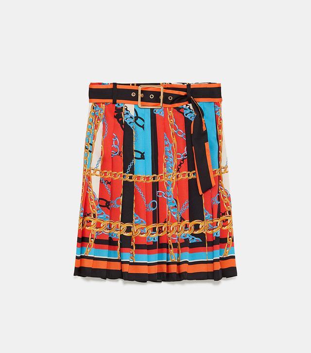 Zara Chain Print Pleated Skirt
