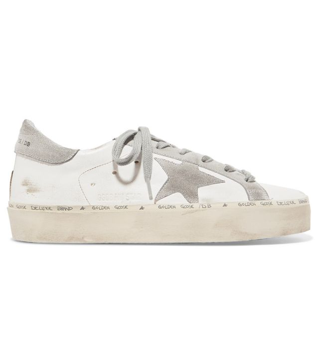Golden Goose Deluxe Brand Hi Star Distressed Leather and Suede Sneakers