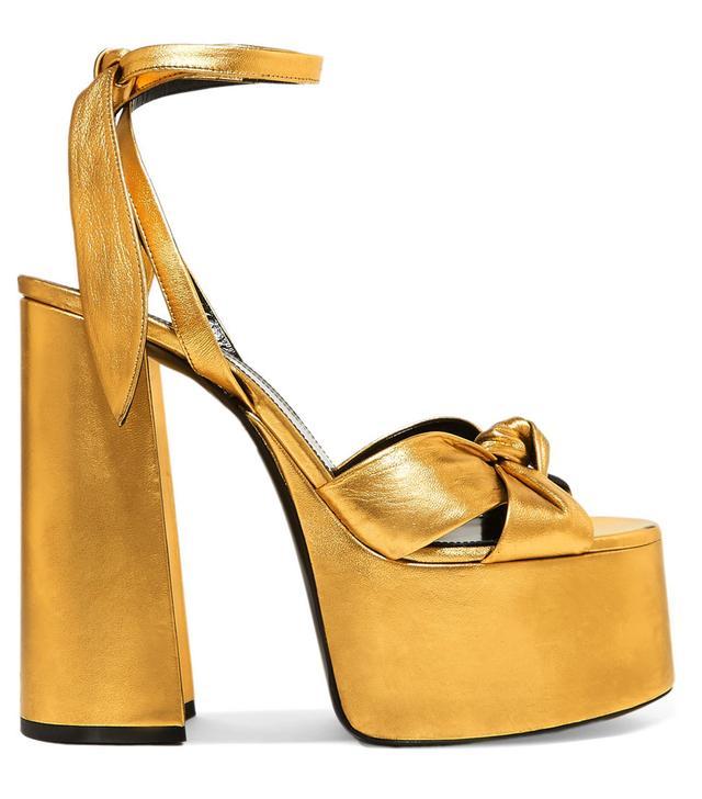 Saint Laurent Paige Metallic Leather Platform Sandals