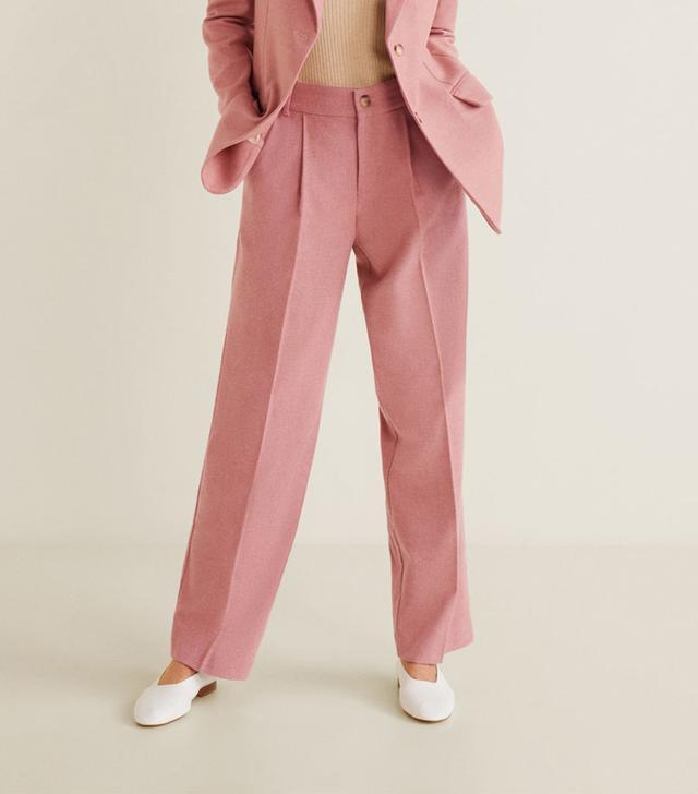 Mango Pleat Detail Wool Trousers