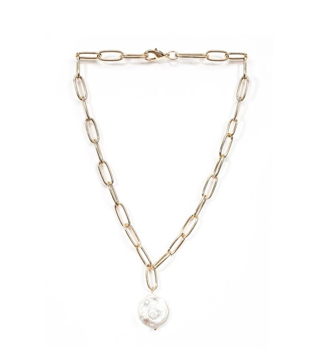 Pixie Market Sculptured Pearl Chain Link Double Necklace