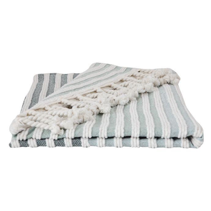 Green Striped Bath Rug