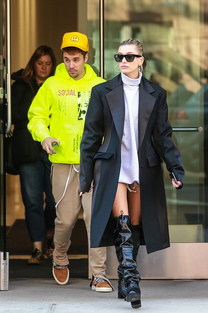 Hailey Bieber Wears Slouchy Boots And No Pants Who What Wear
