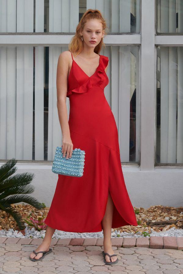 289549a2e3f Urban Outfitters Flamenco Ruffle Tie-Back Slip Dress ( 89)