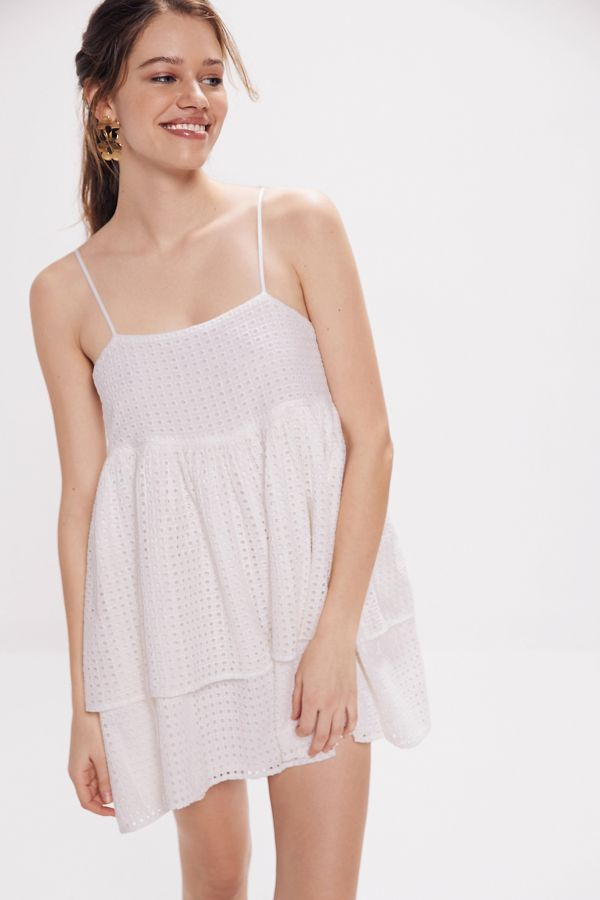f3c720cde04 Urban Outfitters Katrina Eyelet Tiered Ruffle Mini Dress ( 69)