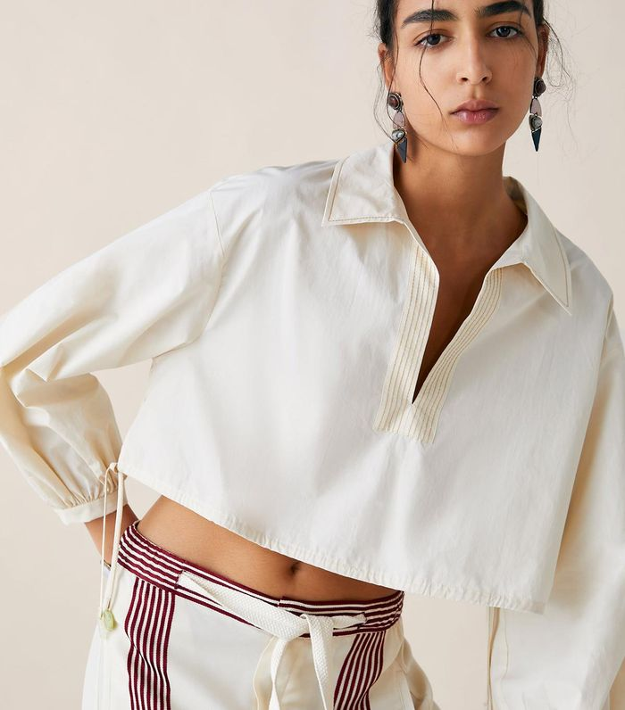 6a19c19faa9380 Pinterest · Shop · Zara Limited Edition Studio Cropped Blouse ($70). The  contrast stitching combined with a cropped ...