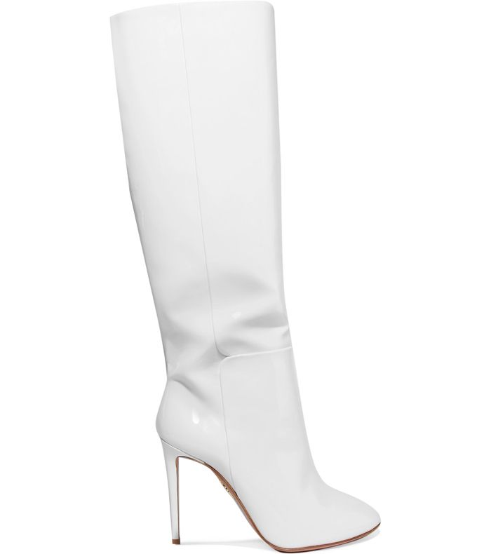 f0c89454365 Pinterest · Shop · Aquazzura Brera Patent-Leather Knee Boots ( 1200). These  white knee-high ...