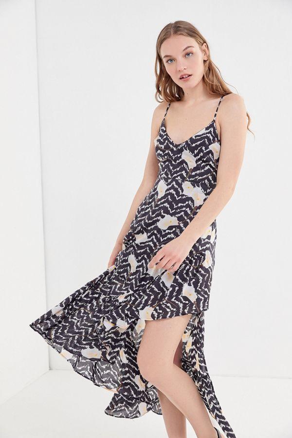 e01b621a40 Urban Outfitters Fireworks Tie-Back Ruffle Midi Dress ($79)
