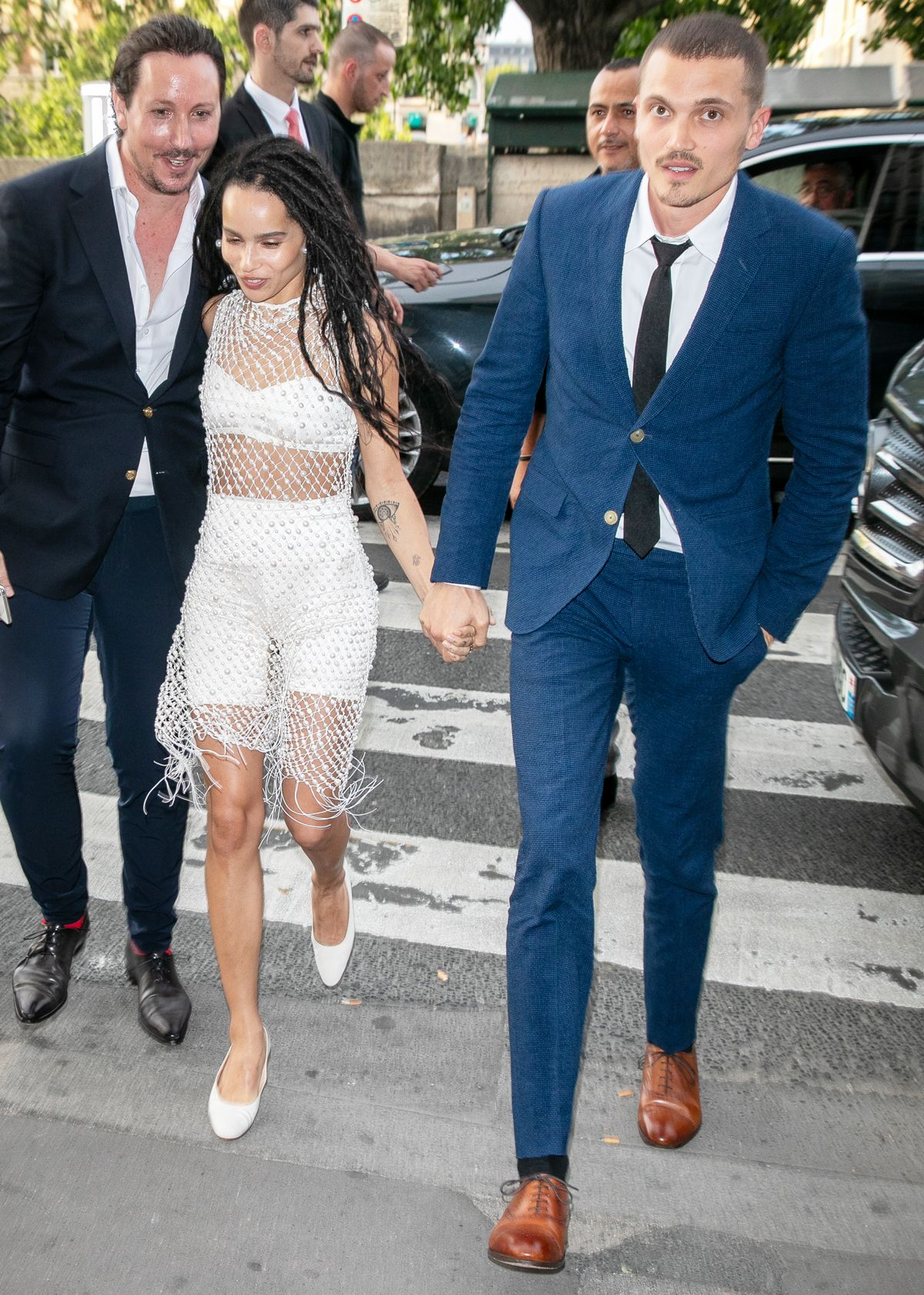 Zoe Kravitz Wore a Bra and Bike Shorts to Her Wedding Rehearsal Dinner in Paris
