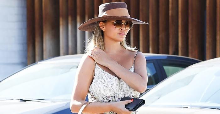 Chrissy Teigen Wore a Major Fall Shoe Trend With the Prettiest Summer Dress