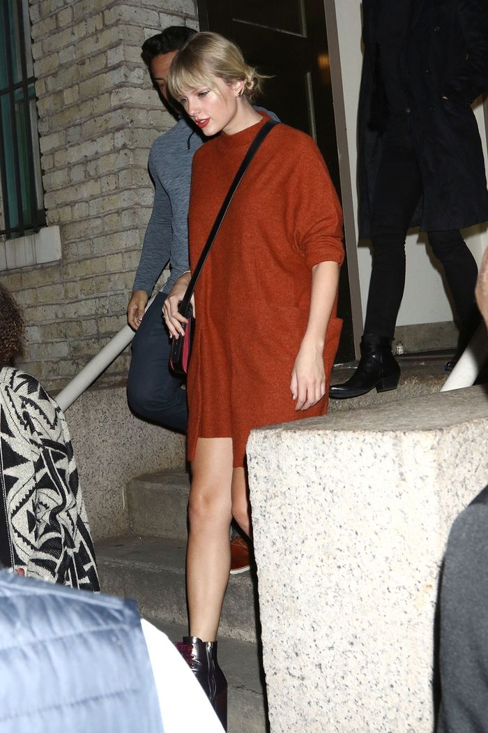 Taylor Swift Wore a Cozy Free People Dress With Designer It Boots