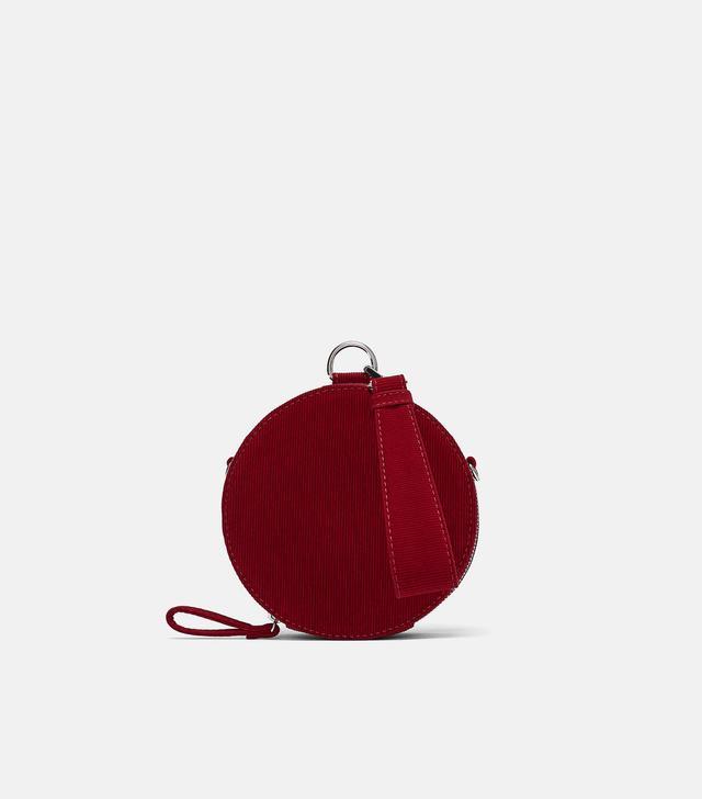 Zara Round Corduroy Crossbody Bag