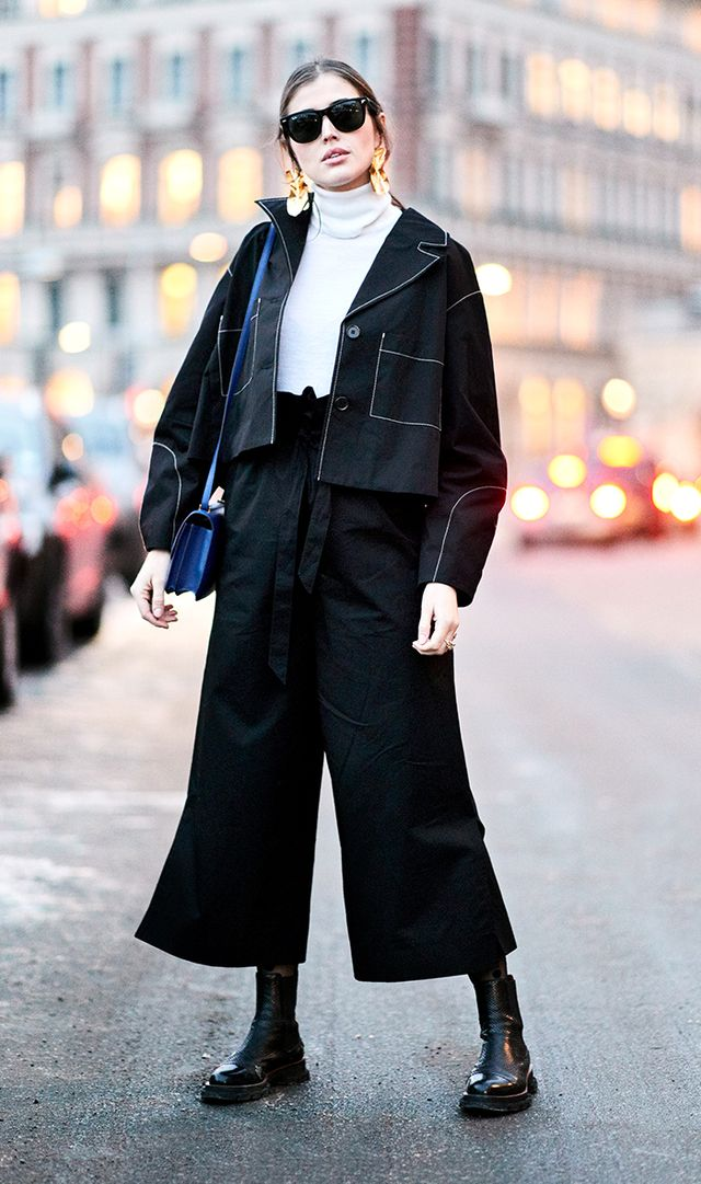 Instead of tunic tops, try cropped silhouettes.