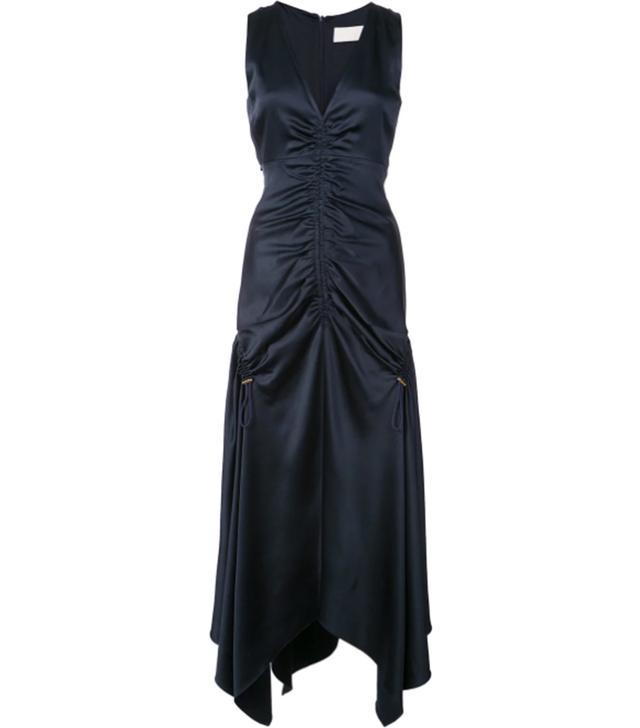satin gathered dress